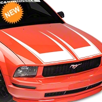 American Muscle Graphics Pinstriped Hood Decal - White (05-09 All) - American Muscle Graphics 101077