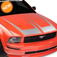 American Muscle Graphics Pinstriped Hood Decal - Silver (05-09 All) - American Muscle Graphics 101078