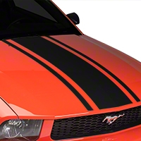 American Muscle Graphics Boss Style Hood Stripe - Matte Black (05-09 All) - American Muscle Graphics 101083