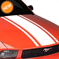 American Muscle Graphics Boss Style Hood Stripe - White (05-09 All) - American Muscle Graphics 101085
