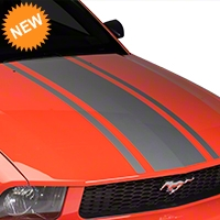 American Muscle Graphics Boss Style Hood Stripe - Silver (05-09 All) - American Muscle Graphics 101086