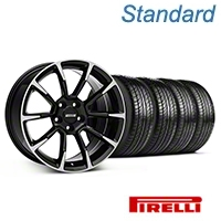 11/12 GT/CS Style Black Machined Wheel & Pirelli Tire Kit - 19x8.5 (05-14 All) - American Muscle Wheels KIT||101064||63101