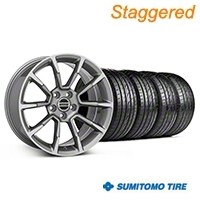 Staggered 11/12 GT/CS Style Anthracite Wheel & Sumitomo Tire Kit - 18x9/10 (05-14 GT, V6) - American Muscle Wheels KIT||101066||101068||63008||63009