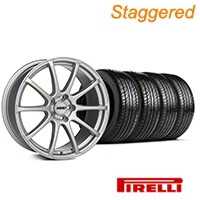 MMD Staggered Axim Silver Wheel & Pirelli Tire Kit - 19x8.5/10 (05-14 All) - MMD 63102