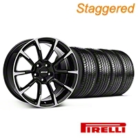 Staggered 11/12 GT/CS Style Black Machined Wheel & Pirelli Tire Kit - 19x8.5/10 (05-14 All) - American Muscle Wheels KIT||101064||101065||63101||63102