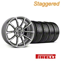 Staggered 11/12 GT/CS Style Anthracite Wheel & Pirelli Tire Kit - 19x8.5/10 (05-14 All) - American Muscle Wheels KIT||101069||101070||63101||63102