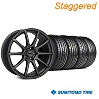 MMD Staggered Axim Charcoal Wheel & Sumitomo Tire Kit - 19x8.5/10 (05-14 All) - MMD KIT||101027||101028||63036||63037