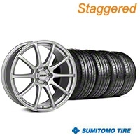 MMD Staggered Axim Silver Wheel & Sumitomo Tire Kit - 19x8.5/10 (05-14 All) - MMD KIT||101031||101032||63036||63037