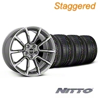 Staggered 11/12 GT/CS Style Anthracite Wheel & NITTO INVO Tire Kit - 19x8.5/10 (05-14 All) - American Muscle Wheels KIT||101069||101070||79520||79521