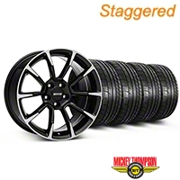 Staggered 11/12 GT/CS Style Black Machined Wheel & Mickey Thompson Tire Kit - 19x8.5/10 (05-14 All) - American Muscle Wheels KIT||101064||101065||79539||79540