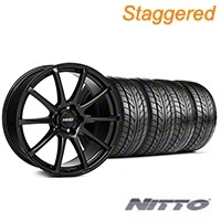 MMD Staggered Axim Gloss Black Wheel & NITTO Tire Kit - 20x8.5/10 (05-14 All) - MMD KIT||101025||101026||76005||76006