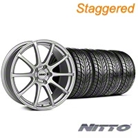 MMD Staggered Axim Silver Wheel & NITTO Tire Kit - 20x8.5/10 (05-14 All) - MMD KIT||101033||101034||76005||76006