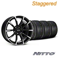 Staggered 11/12 GT/CS Style Black Machined Wheel & NITTO INVO Tire Kit - 19x8.5/10 (05-14 All) - American Muscle Wheels KIT||101064||101065||79520||79521
