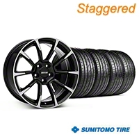 Staggered 11/12 GT/CS Style Black Machined Wheel & Sumitomo Tire Kit - 19x8.5/10 (05-14 All) - American Muscle Wheels KIT||101064||101065||63036||63037