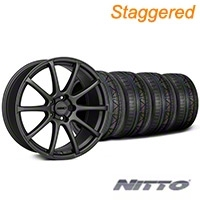 MMD Staggered Axim Charcoal Wheel & NITTO INVO Tire Kit - 19x8.5/10 (05-14 All) - MMD KIT||101027||101028||79520||79521