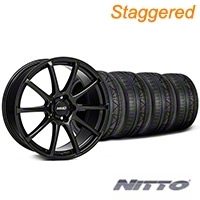 MMD Staggered Axim Gloss Black Wheel & NITTO INVO Tire Kit - 19x8.5/10 (05-14 All) - MMD KIT||101023||101024||79520||79521
