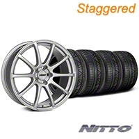 MMD Staggered Axim Silver Wheel & NITTO INVO Tire Kit - 19x8.5/10 (05-14 All) - MMD 79521