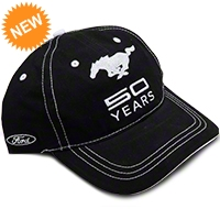 Mustang 50th Anniversary Hat - Black - AM Accessories BDFMEH174