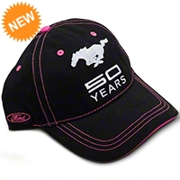 Mustang 50th Anniversary Hat - Black and Pink - AM Accessories BDFMEH173