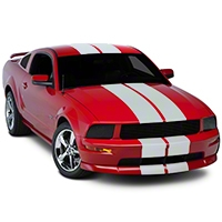 Matte White GT500 Style Stripes - 10 in. (05-14 All) - American Muscle Graphics 101444G05