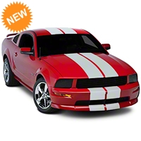 Matte White GT500 Style Stripes - 10in (05-14 All) - American Muscle Graphics 101444G05