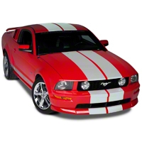Matte White Lemans Stripes - 12 in. (05-14 All) - American Muscle Graphics 101445G05