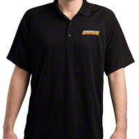 AmericanMuscle Performance Polo Shirt - Black - AM Accessories 101572-A||101572-b||101572-C||101572-D||101572-E