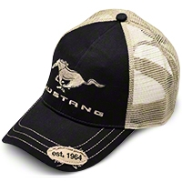 Ford Mustang Trucker Hat - Black and Tan - Ford BDFMEH156