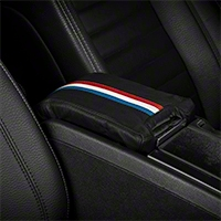 Premium Leather Arm Rest Cover w/ Padding - Red, White & Blue (10-14 All) - AM Interior Mustang10armrestRWB