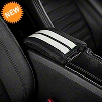 Premium Leather Arm Rest Cover w/ Padding - White (10-14 All) - AM Interior Mustang10armrestWhiteStripes