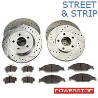Power Stop Street Warrior Brake Rotor & Ceramic Pad Kit - Front & Rear (94-04 Bullitt, Mach 1, Cobra) - Power Stop K1305-26