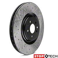 StopTech Sport Cross-Drilled Rotors - Front Pair (13-14 GT500) - StopTech 128.61106L||128.61106R