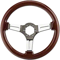 Wood & Chrome Steering Wheel (79-04 All) - AM Interior ST3011