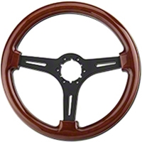 Wood & Black Steering Wheel (79-04 All) - AM Interior ST3027B