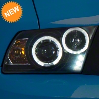 Black Projector Dual Halo Headlights - LED (10-12 GT, V6) - AM Lights LHP-MST10JM-TM