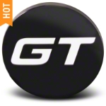 Black GT Center Cap - Large - AmericanMuscle Wheels CAP-GT-BK