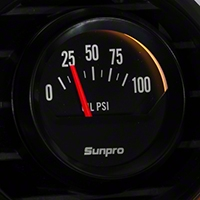 Sunpro Black Styleline Oil Pressure Gauge - Electric (79-14 All) - Sunpro CP8212