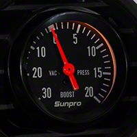 Sunpro Black Styleline Boost/Vaccum Gauge - Mechanical (79-14 All) - Sunpro CP8213