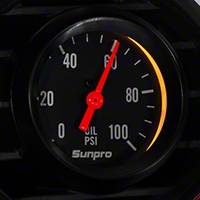 Sunpro Black Styleline Oil Pressure Gauge - Mechanical (79-14 All) - Sunpro CP8216
