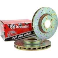 Brembo Sport Cross-Drilled Mustang Rotors (94-04 Cobra, Bullitt, Mach 1 Rear Pair)