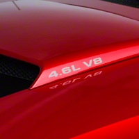 4.6L V8 Hood Scoop Decals - Silver (94-04) - AmericanMuscle Graphics 26005