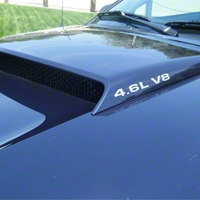 4.6L V8 Hood Scoop Decals - Silver (96-10 All) - AmericanMuscle Graphics 26005