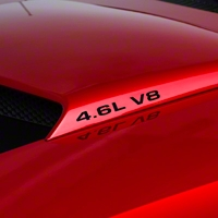 4.6L V8 Hood Scoop Decals - Black (94-04) - AmericanMuscle Graphics 26006
