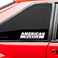 AmericanMuscle Quarter Window Decal - White (79-93 All) - American Muscle Graphics 26023