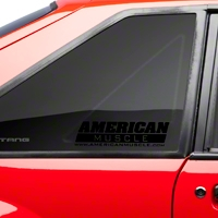AmericanMuscle Quarter Window Decal - Black (79-93 All) - AmericanMuscle Graphics 26075