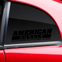 AmericanMuscle Quarter Window Decal - Black (79-14 All) - AmericanMuscle Graphics 26075