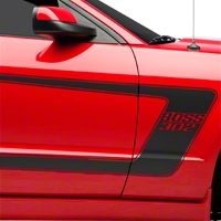 Matte Black Boss C-Style Side Stripe w/Lettering (05-14 All) - AmericanMuscle Graphics 26147
