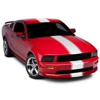 White Super Snake Style Stripe Kit (05-14 All) - AmericanMuscle Graphics 26155