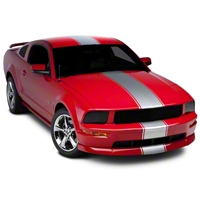Silver Super Snake Style Stripe Kit (05-14 All) - AmericanMuscle Graphics 26157