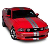 Silver GT500 Style Stripes - 5in (05-14 All) - AmericanMuscle Graphics 26163